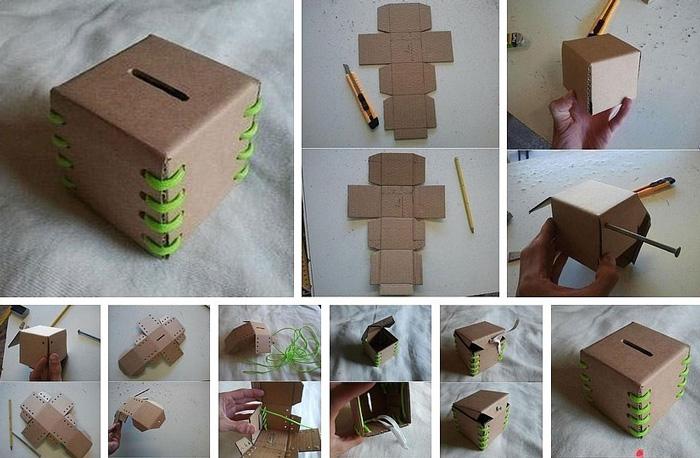 Как сделать из картона копилку фото 289